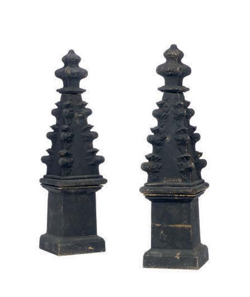 A PAIR OF CAST-IRON FINIAL FOR