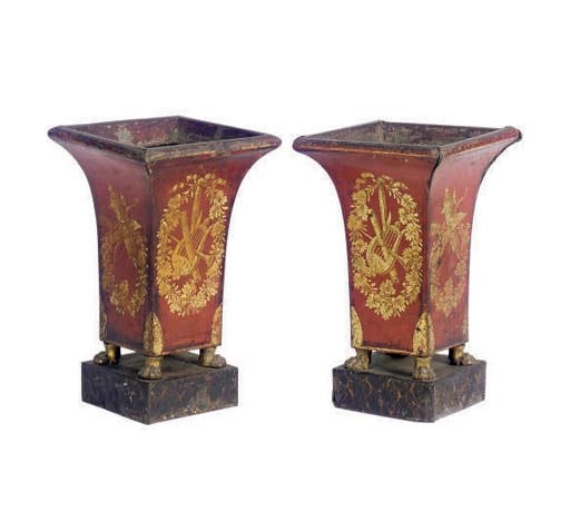 A PAIR OF SCARLET TOLE PIENT S