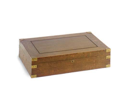 A BRASS BOUND OAK CUTLERY BOX,