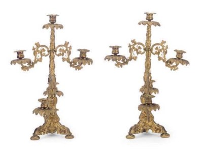A PAIR OF AMERICAN GILT-BRONZE