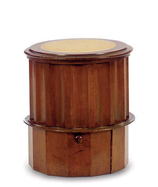 A MAHOGANY FLUTED COMMODE STEP