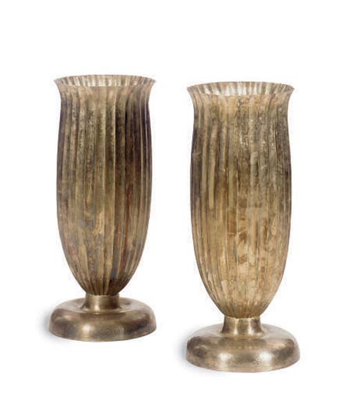 A PAIR OF TALL METAL VASES,