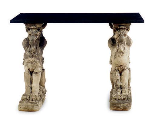 A CARVED STONE TRESTLE TABLE W