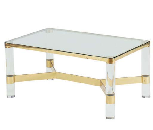 A BRASS AND LUCITE GLASS-TOP L
