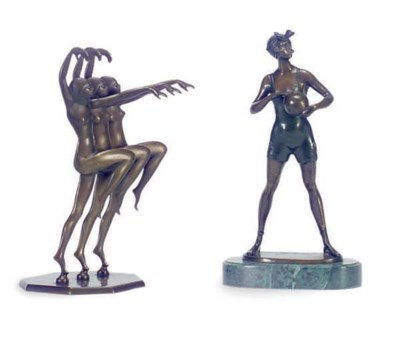 A COLD PAINTED BRONZE FIGURE O
