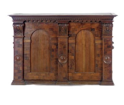 A GERMAN WALNUT AND MARQUETRY