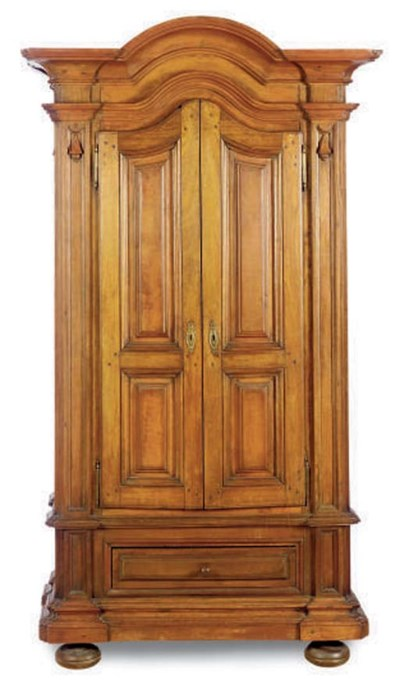 A COLONIAL HARDWOOD ARMOIRE,
