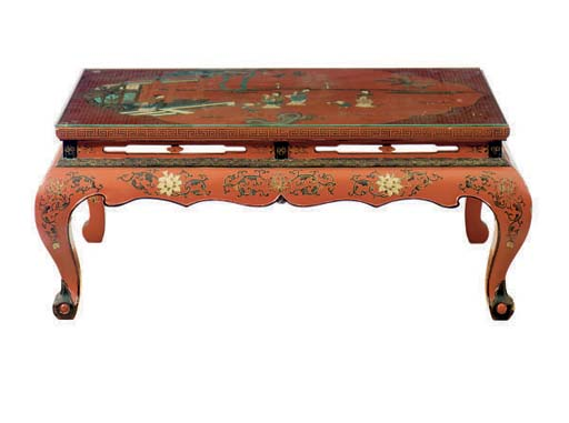 A SCARLET LACQUERED CHINOISIER