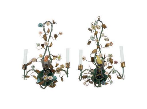 A PAIR OF PORCELAIN MOUNTED TO