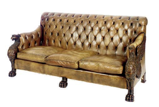 A VICTORIAN CARVED MAHOGANY AN