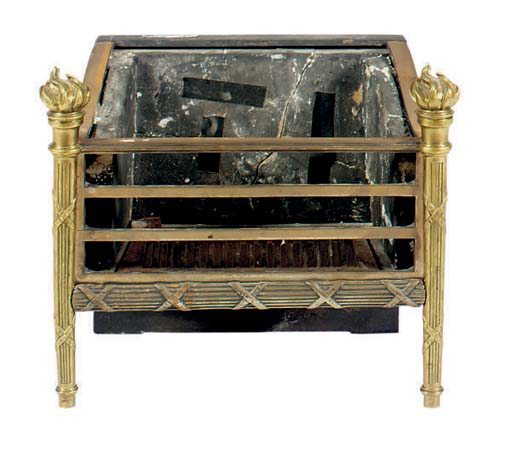 AN ENGLISH BRASS FIRE GRATE,