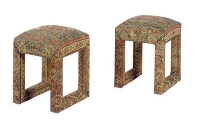 A PAIR OF KILIM UPHOLSTERED ST