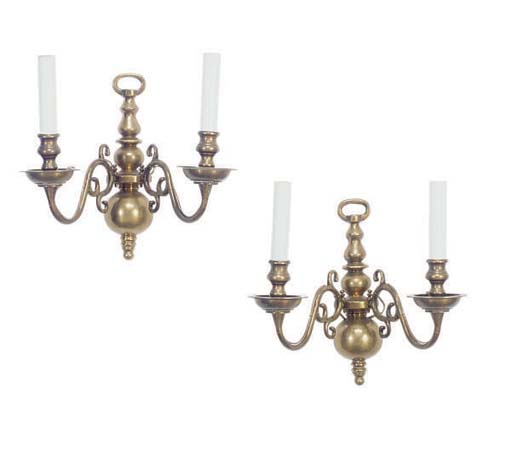 A PAIR OF BRASS TWO-BRANCH WAL