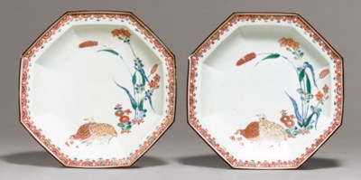 Two Octagonal Porcelain Dishes