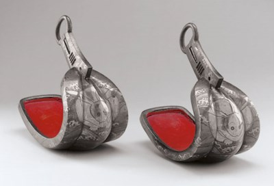 A Pair of Silver-Inlaid Iron S
