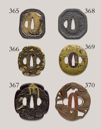 An Iron and Gold-Inlaid Tsuba