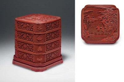 A RARE CARVED RED LACQUER THRE