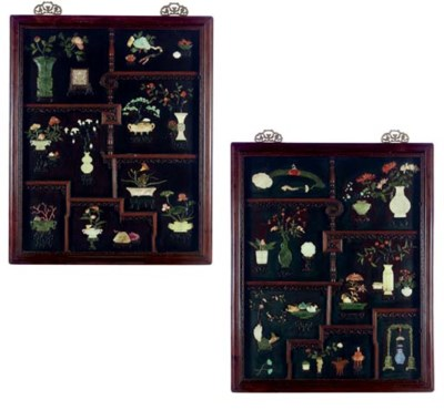**A PAIR OF LARGE FRAMED JADE