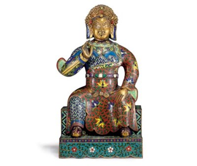 AN UNUSUAL CLOISONNE AND CHAMP