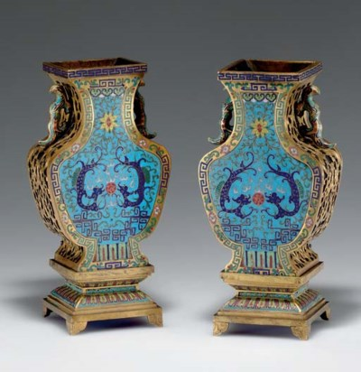A PAIR OF UNUSUAL CLOISONNE AN
