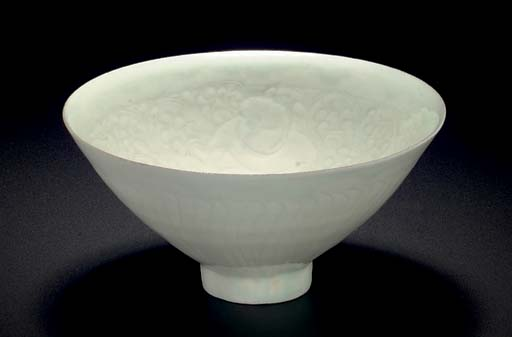 A QINGBAI CARVED CONICAL BOWL