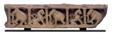 A large red sandstone frieze w