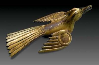 A gilt bronze figure of a bird