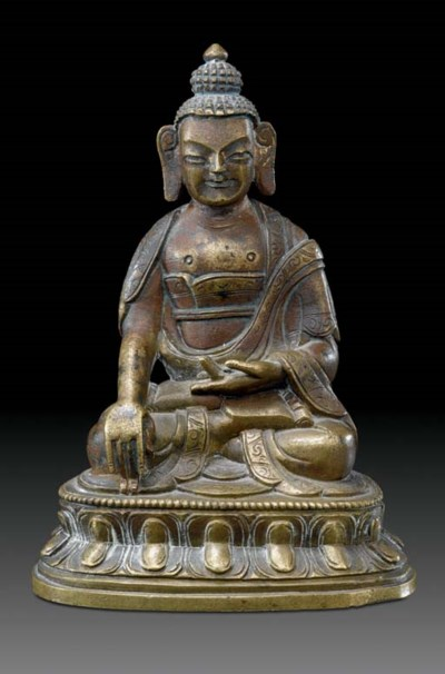 A small bronze figure of Buddh