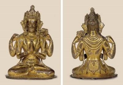 A gilt copper figure of Shadak