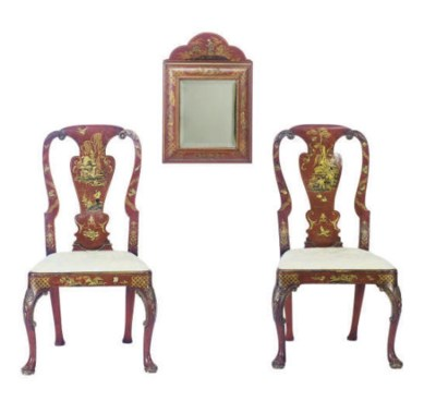 A PAIR OF ENGLISH RED AND GILT