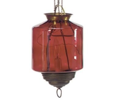 A RED GLASS HALL LANTERN,