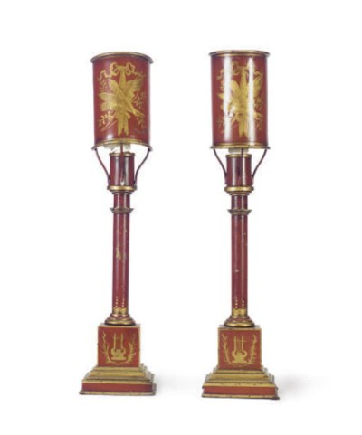 A PAIR OF RED AND GILT TOLE PE