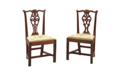 TWO CHIPPENDALE MAHOGANY SIDE