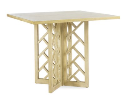 A LIMED WOOD SQUARE TABLE WITH