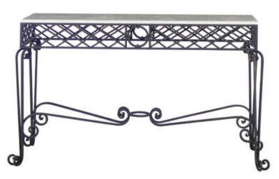 A WROUGHT IRON AND MARBLE TOP