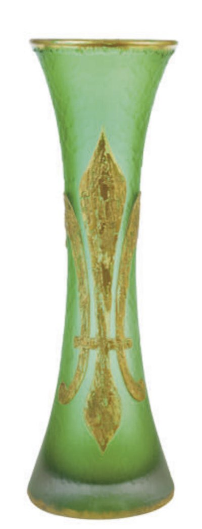 A FRENCH GILT CAMEO GLASS VASE