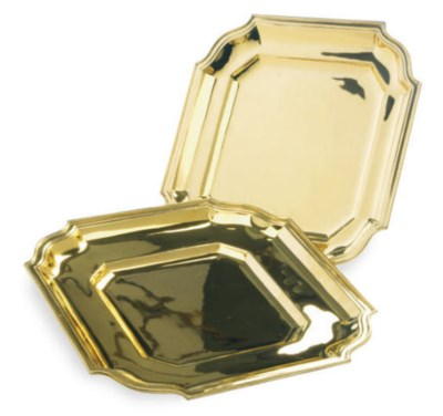 A PAIR OF SILVER-GILT TRAYS,