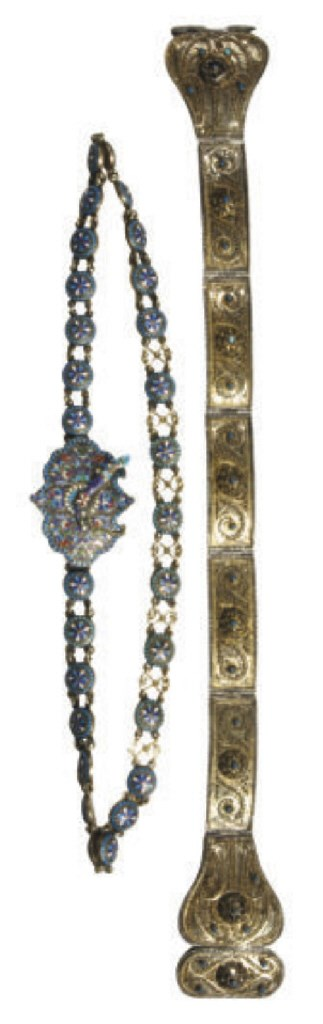 TWO SILVER AND CLOISONNÉ ENAME