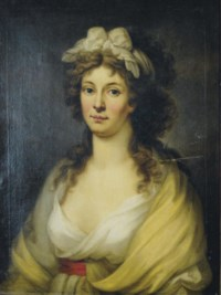 Portrait of a lady, three-quarter length, in a white dress and yellow shawl, a white scarf in her hair