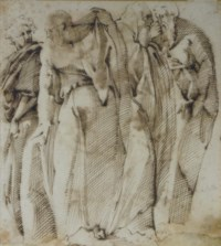 Four heavily draped men