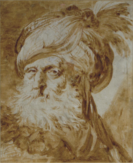 Head of an Oriental man wearing a turban
