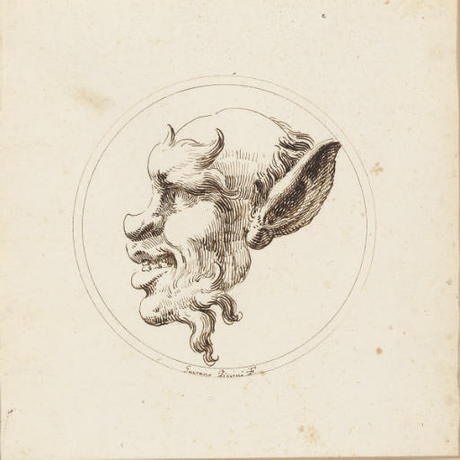 The head of a satyr in profile