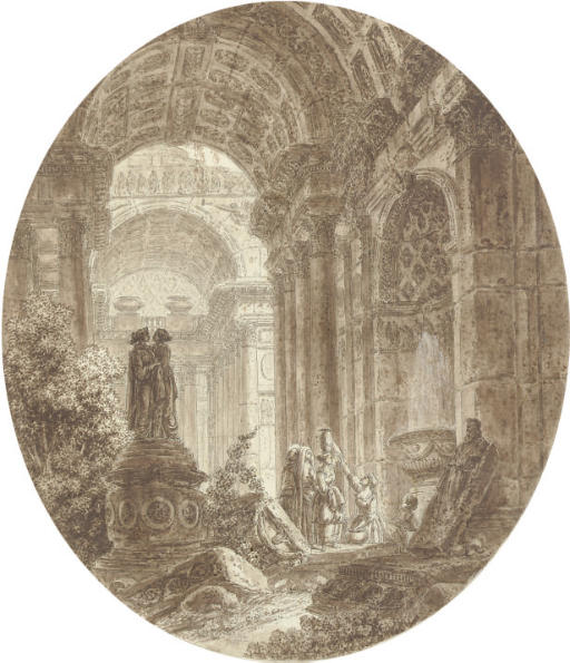 A capriccio of classical ruins, with coffered archways and figures taking water from a fountain