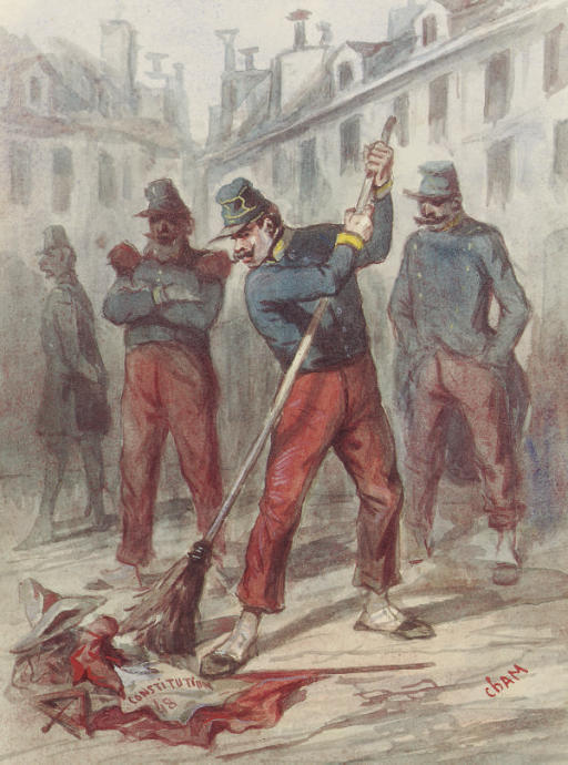 A soldier sweeping away the Constitution of 1848; and Soldiers at the Bivouac