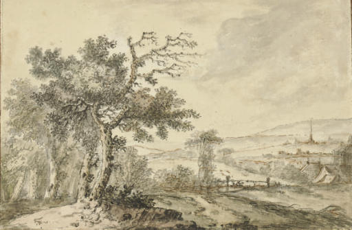 A landscape with a village in the distance