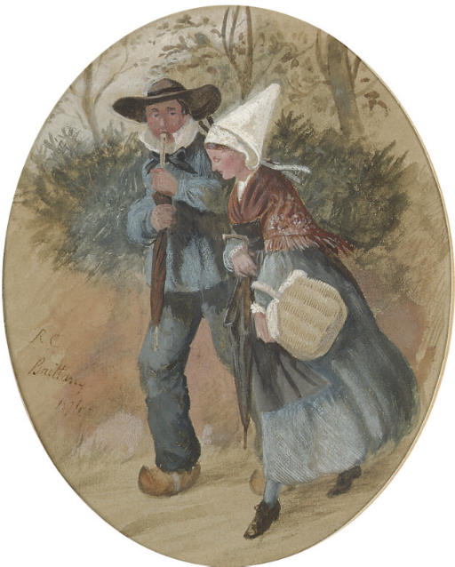 A Breton couple walking through a forest