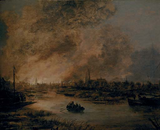A river landscape at night with a rowing boat, a burning city beyond