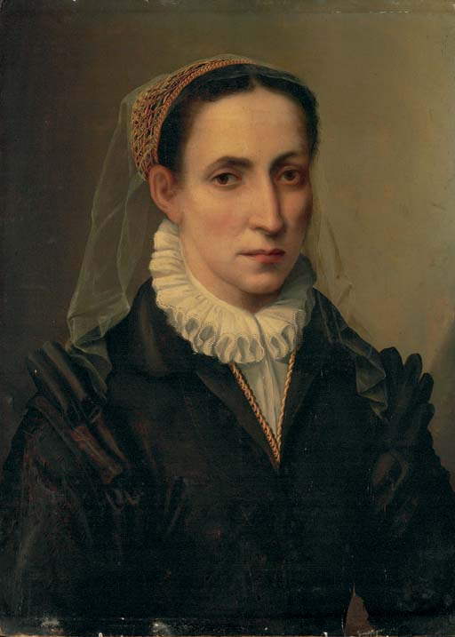 Portrait of Contessina Mattei, bust-length, in a black dress with a white chemisette, a white veil and gold net over her hair