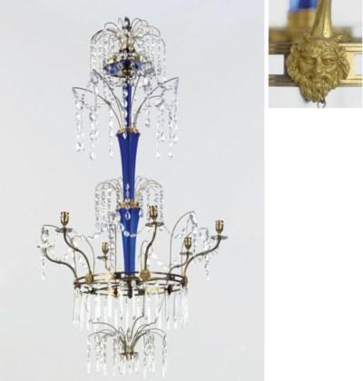 A RUSSIAN ORMOLU, BLUE GLASS A