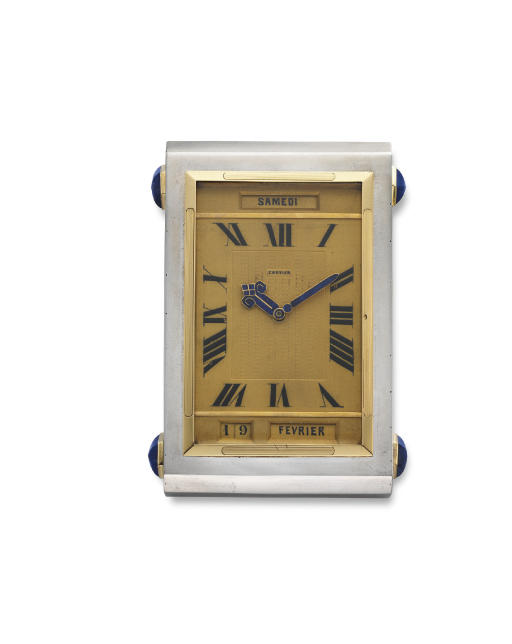 "AN ART DECO SILVER, GOLD AND LAPIS LAZULI ""PENDUAL CALENDRIER"" TABLE CLOCK, BY CARTIER"